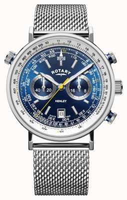 Rotary El | cronógrafo henley para hombre | pulsera de malla de acero | esfera azul GB05235/05