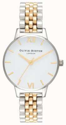 Olivia Burton | mujer | dial midi | pulsera de dos tonos | esfera blanca | OB16MDW34
