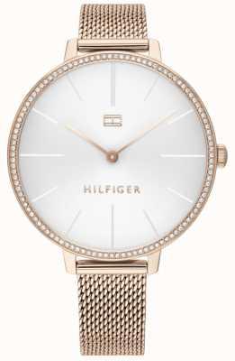 Tommy Hilfiger El | kelly de mujer | pulsera de malla de oro rosa | esfera blanca | 1782115