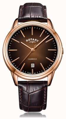 Rotary El | cambridge para hombres | caja de pvd de oro rosa | correa de cuero marrón GS05394/16