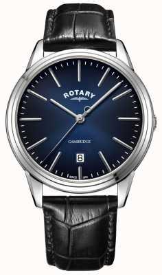 Rotary El | cambridge para hombres | esfera azul | correa de cuero negro | GS05390/05