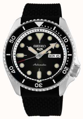 Seiko 5 deporte | trajes automático | esfera negra | caucho negro SRPD73K2
