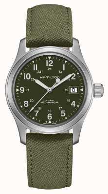 Hamilton El | campo de color caqui | oficial mecánico | correa de lona verde | H69439363