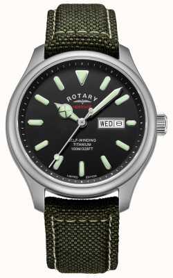Rotary El | patrimonio de los hombres automático | caja de titanio | correa de color caqui | GS05249/04