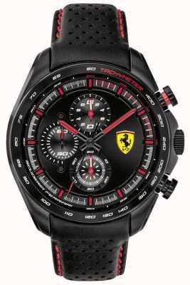 Scuderia Ferrari El | corredor de velocidad de los hombres | correa de cuero negro | esfera negra | 0830647
