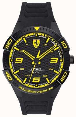 Scuderia Ferrari El | ápice de los hombres | correa de caucho negro | esfera negra / amarilla | 0830663