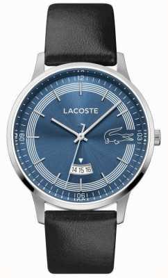 Lacoste | madrid masculino | correa de cuero negro | esfera azul | 2011034