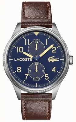 Lacoste El | continental masculino | correa de cuero marrón | esfera azul | 2011040