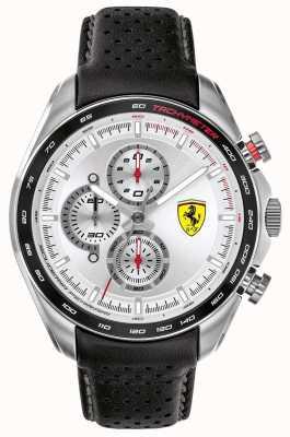 Scuderia Ferrari El | corredor de velocidad de los hombres | correa de cuero negro | esfera plateada | 0830651