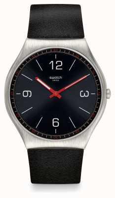 Swatch El | piel ironía 42 | reloj negro de piel | SS07S100