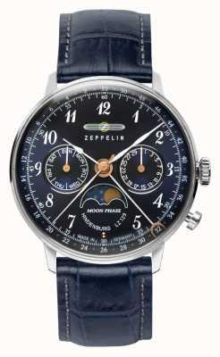 Zeppelin Lz129 hindenburg reloj de día / fecha de cuarzo fase lunar esfera azul 7037-3