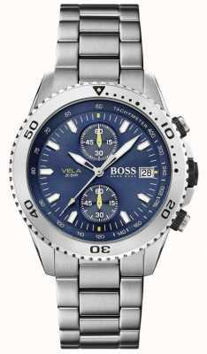 Boss El | vela | cronógrafo | pulsera de acero | esfera azul | 1513775