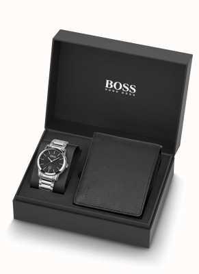 Boss El | hombres | conjunto de reloj y billetera de cuero negro | 1570093