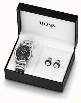 Boss El | hombres | reloj negro y juego de gemelos | 1570091