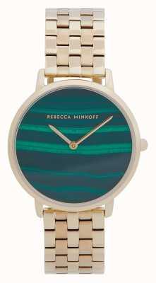 Rebecca Minkoff Mayor de mujeres | pulsera de acero chapado en oro | esfera de malaquita 2200373