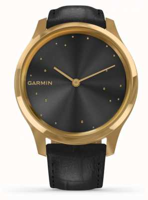 Garmin Vivomove luxe | Caja de pvd de oro de 24 quilates | cuero italiano negro 010-02241-02