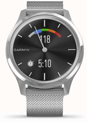 Garmin Vivomove luxe | caja de acero inoxidable | banda milanesa de plata 010-02241-03