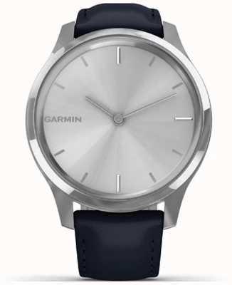 Garmin Vivomove luxe | caja de acero inoxidable | cuero italiano marino 010-02241-00