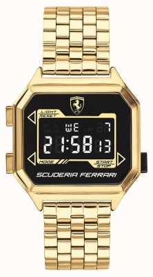 Scuderia Ferrari El | digidrive para hombres | pulsera chapada en oro | esfera negra | 0830705