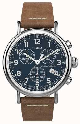 Timex El | crono estándar 41mm | correa de cuero marrón | esfera azul | TW2T68900