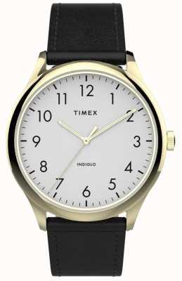 Timex El | lector fácil 40mm | correa de cuero negro | esfera blanca | TW2T71700