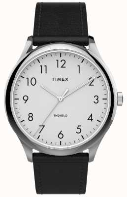Timex El | lector fácil 40mm | correa de cuero negro | esfera blanca | TW2T71800