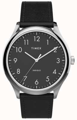 Timex El | lector fácil 40mm | correa de cuero negro | esfera negra | TW2T71900