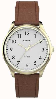 Timex El | lector fácil 32mm | correa de cuero marrón | esfera blanca | TW2T72300