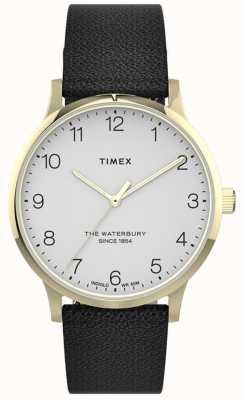 Timex El | waterbury para mujeres | correa de cuero negro | esfera blanca | TW2T75200