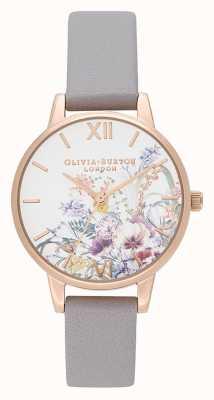 Olivia Burton El | mujeres | jardín encantado | correa de cuero gris lila | OB16EG150