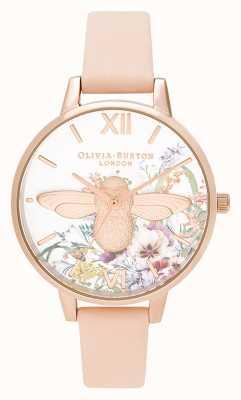 Olivia Burton El | mujeres | jardín encantado | Abeja 3d | correa de cuero melocotón | OB16EG151