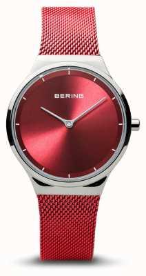 Bering El | clásico | plata pulida para mujer | pulsera de malla roja | 12131-303