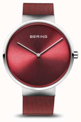 Bering El | clásico | plata pulida / cepillada | pulsera de malla roja | 14539-303