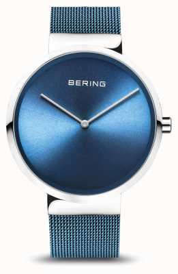 Bering El | clásico | plata pulida / cepillada | pulsera de malla azul | 14539-308
