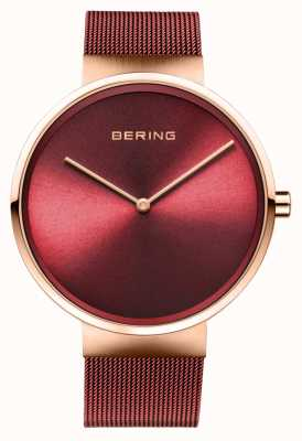 Bering El | clásico | oro rosa pulido / cepillado | pulsera de malla roja | 14539-363