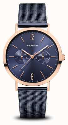 Bering El | clásico | oro rosa pulido | pulsera de malla azul | 14236-367
