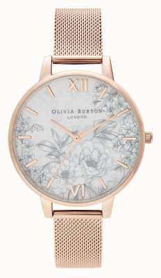Olivia Burton El | mujeres | florales de terrazo | pulsera de malla de oro rosa | OB16TZ04