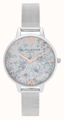 Olivia Burton El | mujeres | florales de terrazo | pulsera de malla de plata | OB16TZ06