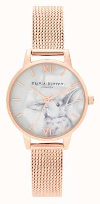 Olivia Burton El | mujeres | animales ilustrados | conejito | malla de oro rosa | OB16WL85