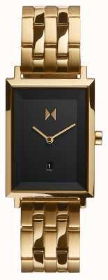MVMT Plaza de la firma | pulsera chapada en oro | esfera negra | D-MF03-GGR