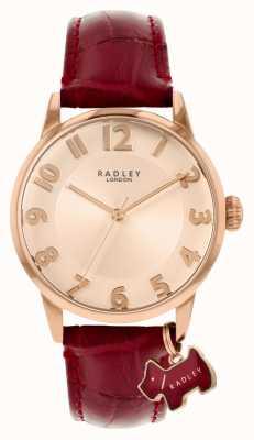 Radley Calle Liverpool | correa de piel burdeos | esfera de oro rosa | RY2866