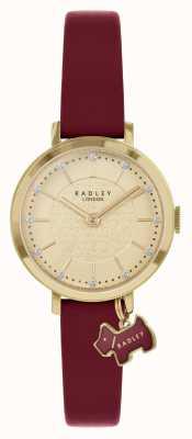 Radley Calle Selby | correa de piel burdeos | esfera de oro | RY2862