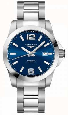 Longines Hombres | conquista deportiva | esfera azul | acero inoxidable L37774996