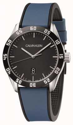 Calvin Klein El | los hombres compiten | correa de caucho azul | esfera negra | K9R31CV1