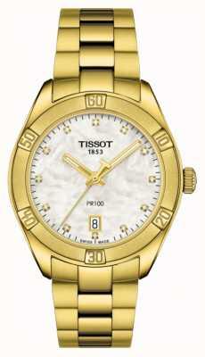 Tissot | pr 100 | acero inoxidable chapado en oro | esfera de nácar T1019103311601