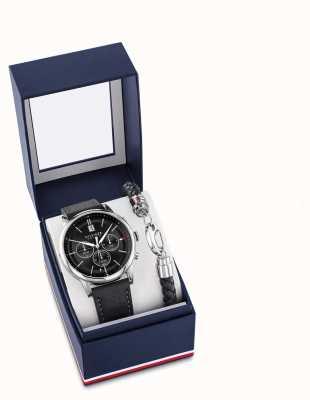 Tommy Hilfiger Set de regalo de reloj y pulsera de cuero negro para hombre 2770058