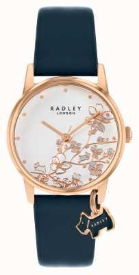 Radley Botánica floral | correa de cuero azul marino | esfera floral plateada | RY2880
