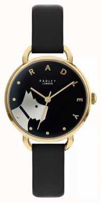 Radley Calle de madera | correa de cuero negro | motivo de perro dial negro | RY2876