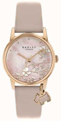Radley Botánica floral | correa de piel desnuda | esfera floral rosa | RY2884