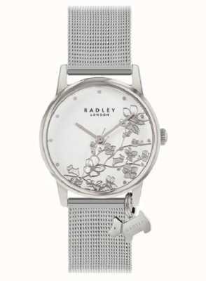 Radley Botánica floral | pulsera de malla de plata | esfera floral blanca RY4401